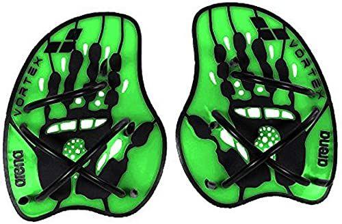 arena Unisex pływackie pomoc treningowa Hand Paddle Vortex (ergonomiczny, do treningu siłowego i technicznego), Acid Lime-Black (65), L
