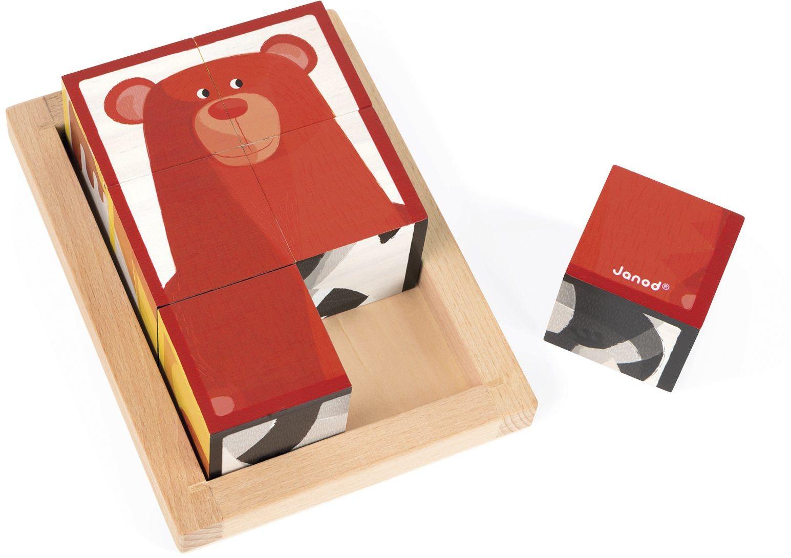 Jura Toys J08200 Janod 6 klocki leśne w drewnianym pudełku