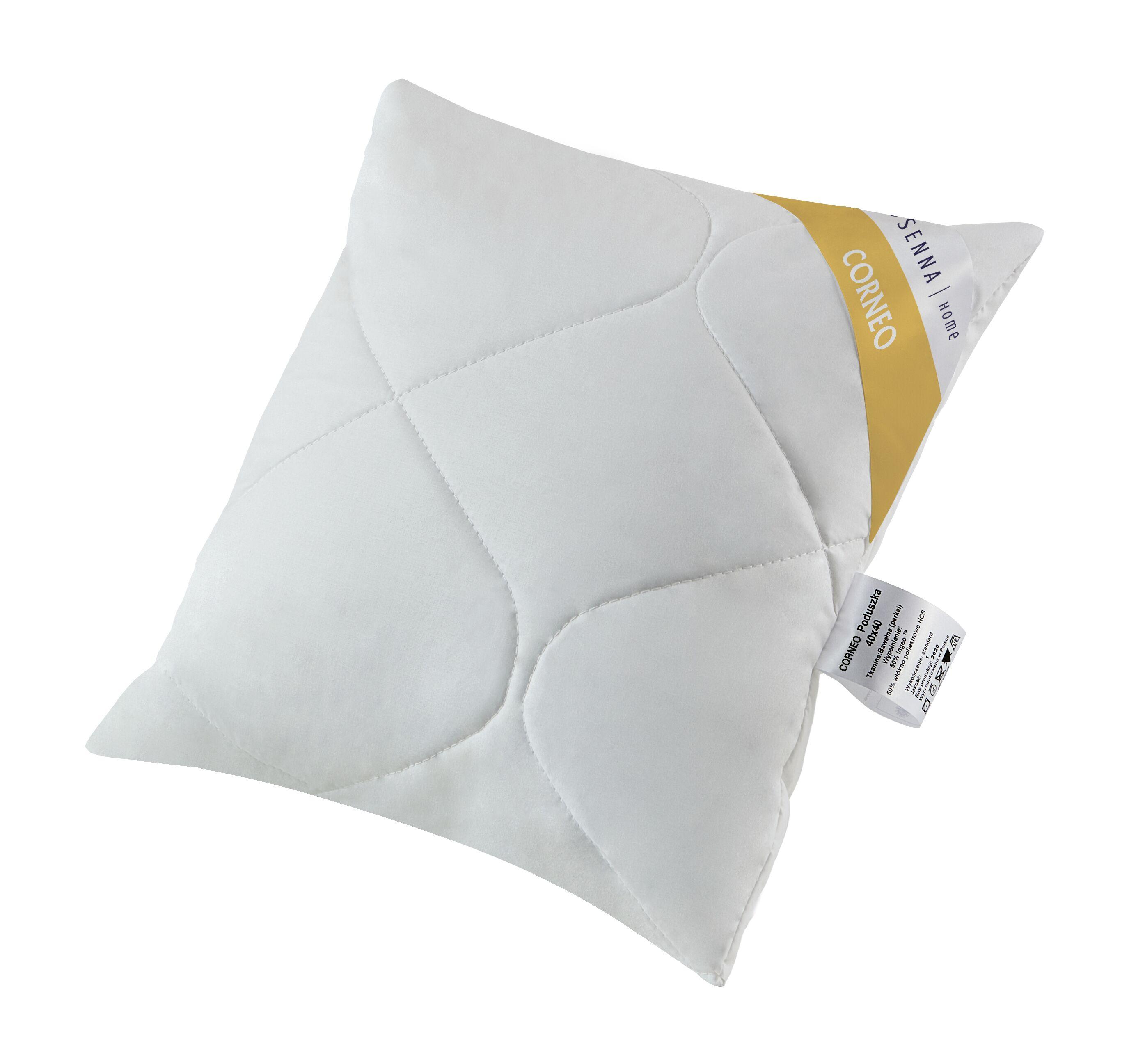 Poduszka antyalergiczna 40x40 Corneo Eco biała jednowarstwowa z włóknem kukurydzianym biodegradowalnym Inter-Widex