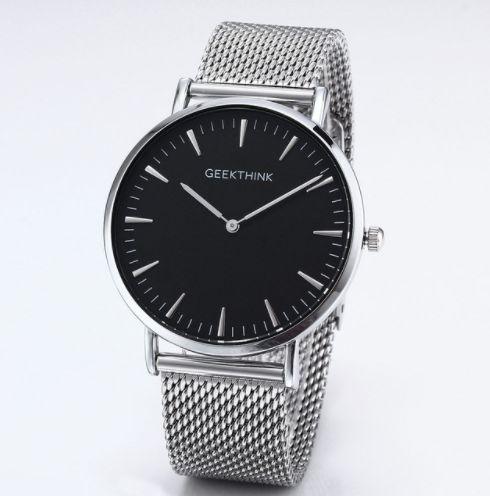 Zegarek premium GeekThink na srebrnej bransolecie - czarna tarcza