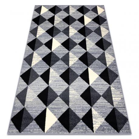 Dywan BCF BASE 3987 Trigone, trójkąty, kwadraty, geometryczny szary / kość słoniowa 120x160 cm