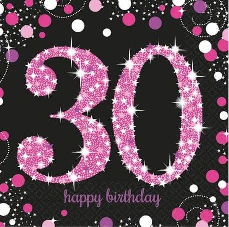 Serwetki na 30 urodziny różowe Sparkling Celebration