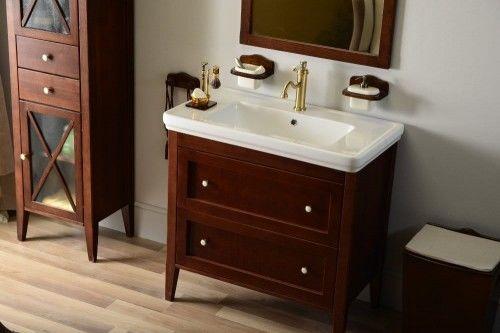 Szafka umywalkowa RUSTIC drewniana 85x81x47cm, kolor mahoń