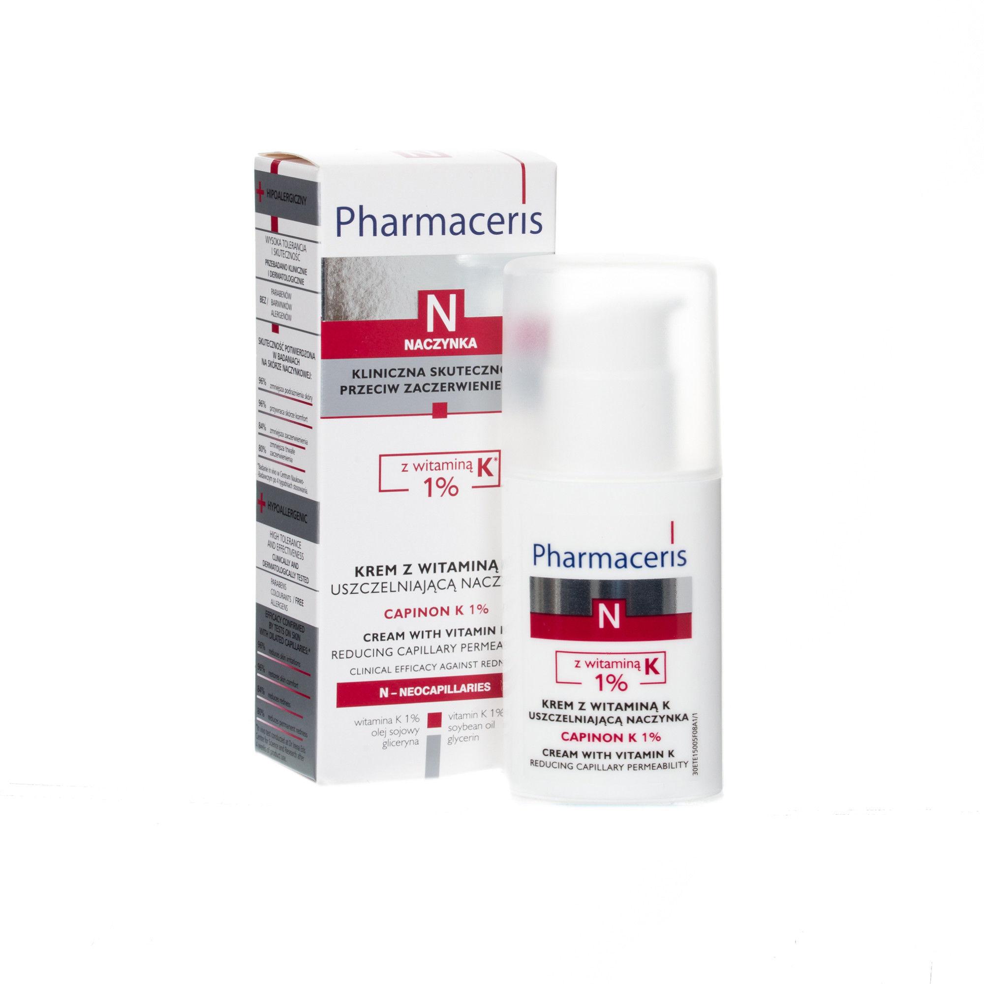 Pharmaceris N capinon K1% krem z witaminą K uszczelniający naczynka 30 ml