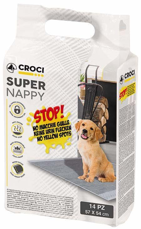 CROCI super chłonne podkładki na pieluchy z węglem aktywnym dla psów, 57 x 54 cm, 14-częściowy
