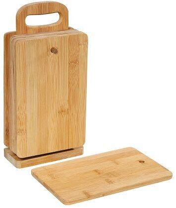 6 bambusowych desek do krojenia z podstawką, wymiary deski: 22x14x0,8 cm
