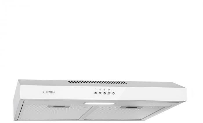 Klarstein Contempo, okap kuchenny do zabudowy podszafkowej, 60 cm, 175 m3/h, LED, stal szlachetna, biały
