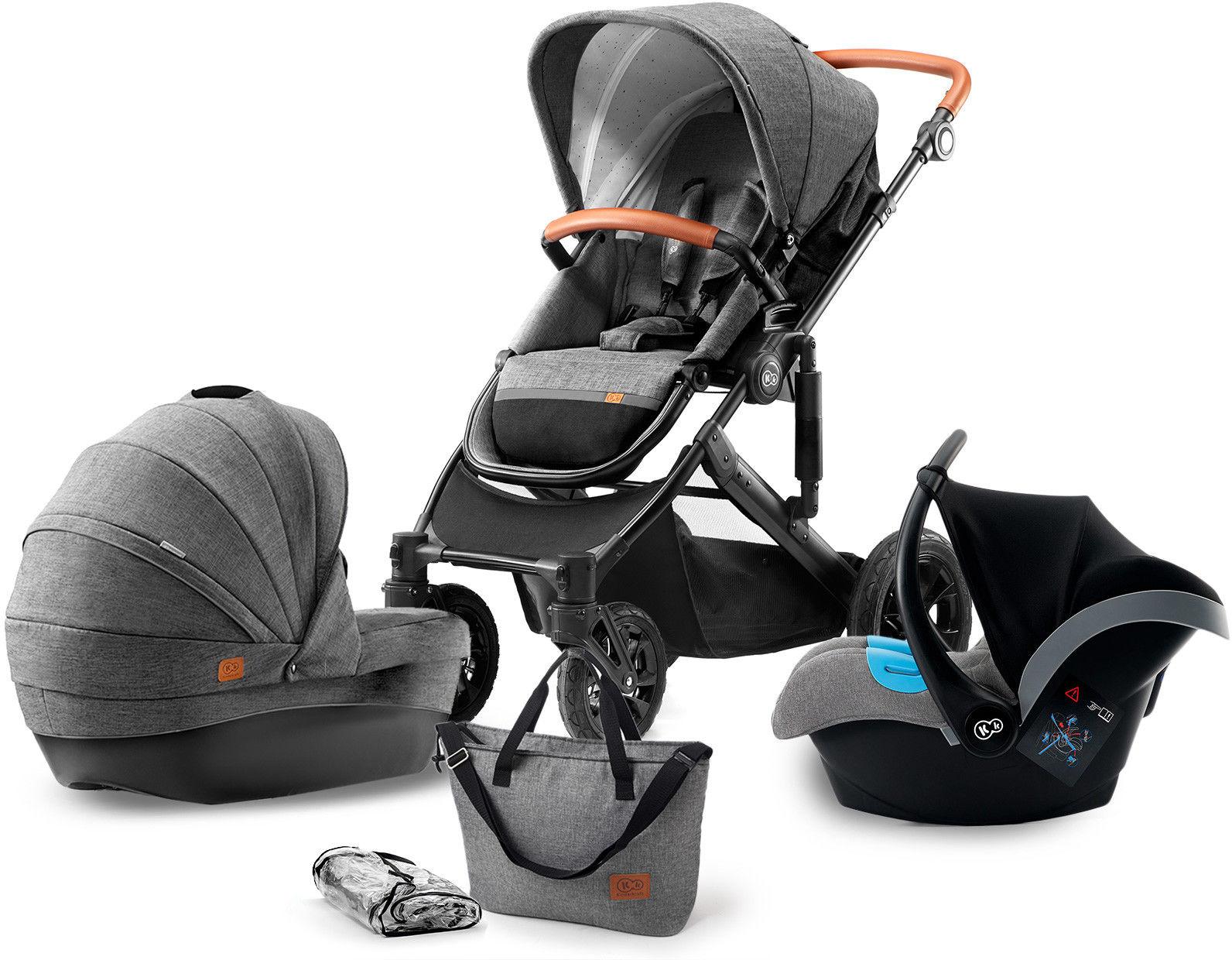 Kinderkraft Prime Wózek uniwersalny 3w1 szary + Mommy Bag