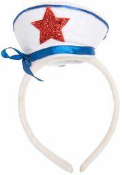 Tiara opaska na głowę żeglarz czerwona gwiazda i wstążka, niebiesko-biała gwiazda wzór na plastikowej opasce na głowę