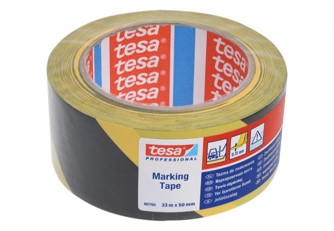 Taśma ostrzegawcza Tesa PVC czarno-żółta, długość 33 m, szerokość 50 mm (60760-00093-15)