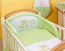 MAMO-TATO pościel 2-el Miś na chmurce w zieleni do łóżeczka 60x120cm
