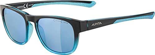 ALPINA Unisex - Dorośli, LINO II Okulary przeciwsłoneczne, black-blue transparent/blue, One Size