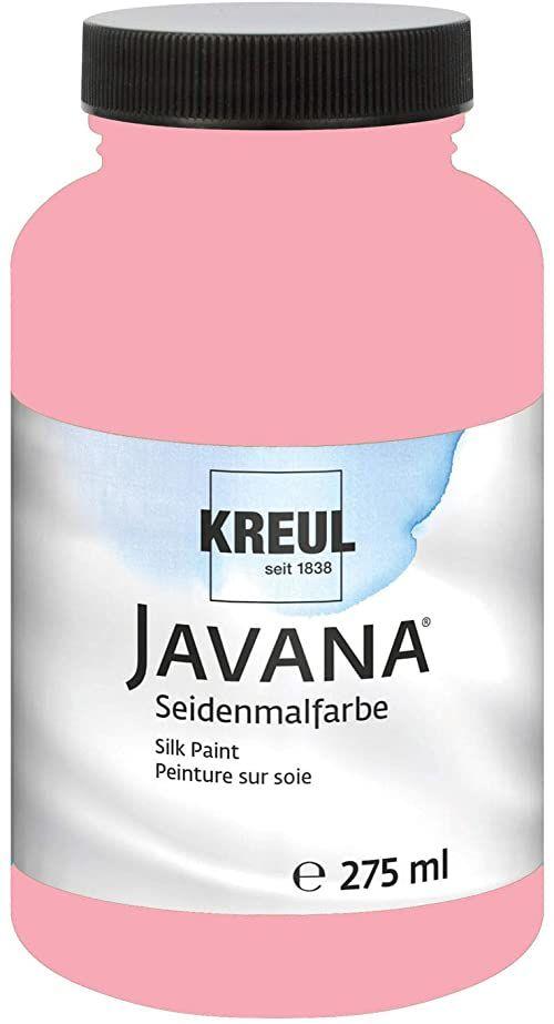 Kreul 8171-275  Javana farba do malowania jedwabiu 275 ml, różowa, wysoko pigmentowana i olśniewająca farba na bazie wody, o płynnym charakterze, wnika głęboko w włókna