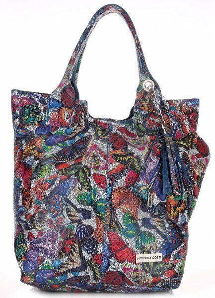 Torby Skórzane Duży Shopper Bag Włoskiej firmy VITTORIA GOTTI Niebieska