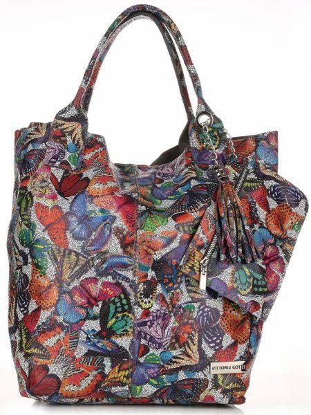 Torby Skórzane Duży Shopper Bag Włoskiej firmy VITTORIA GOTTI Szara