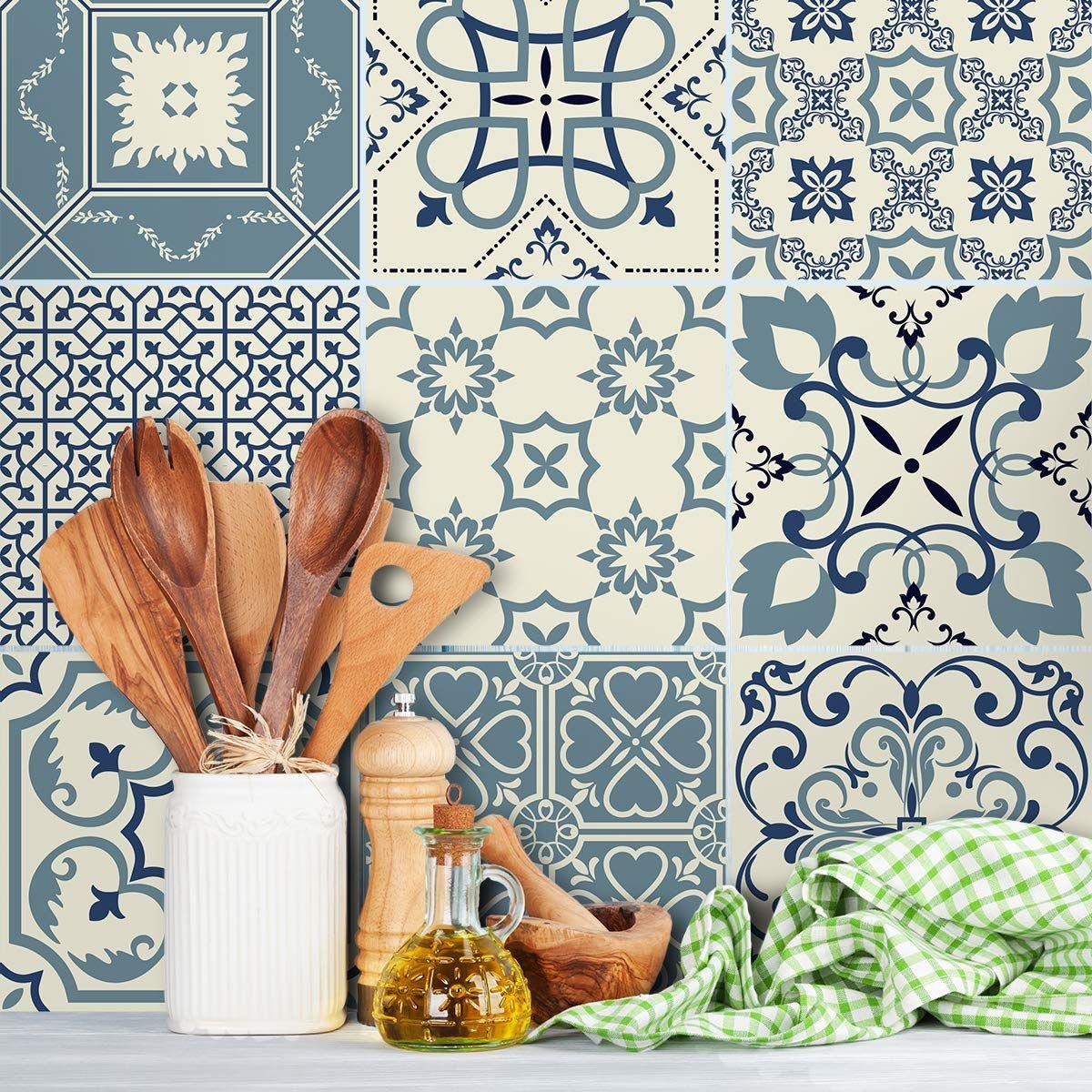 Samoprzylepne naklejki na płytki  płytki cementowe  dekoracja ścienna naklejki do łazienki i kuchni  płytki cementowe samoprzylepne  10 x 10 cm  9 sztuk
