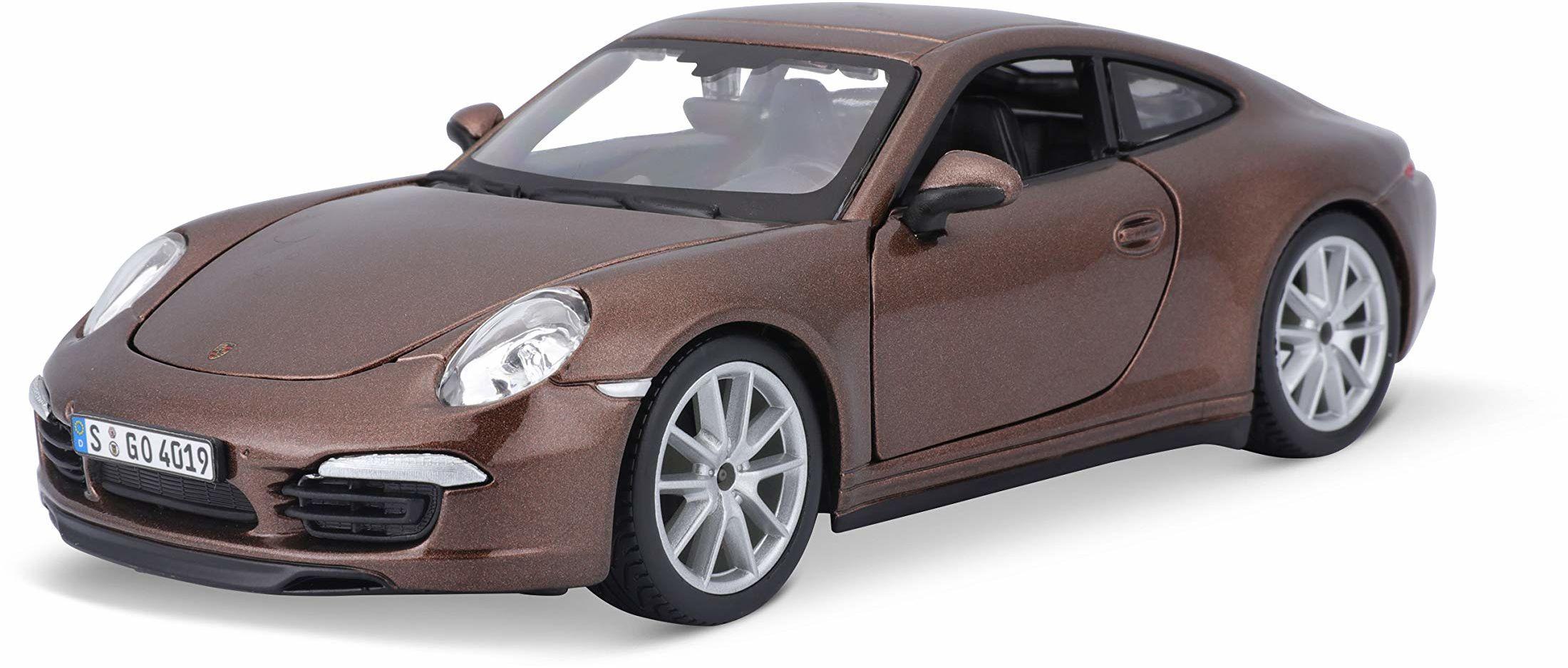 Bauer Spielwaren Bburago Porsche 911 Carrera S: model samochodu w skali 1:24, drzwi i maskę silnika do otwierania, skrętny, 19 cm, matowy brązowy (18-21065)