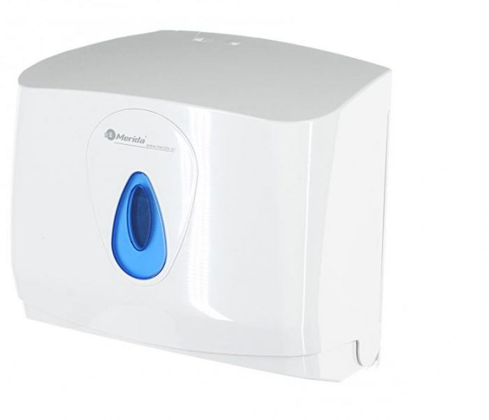 Pojemnik na pojedyncze ręczniki papierowe Merida Top Mini, okienko niebieskie