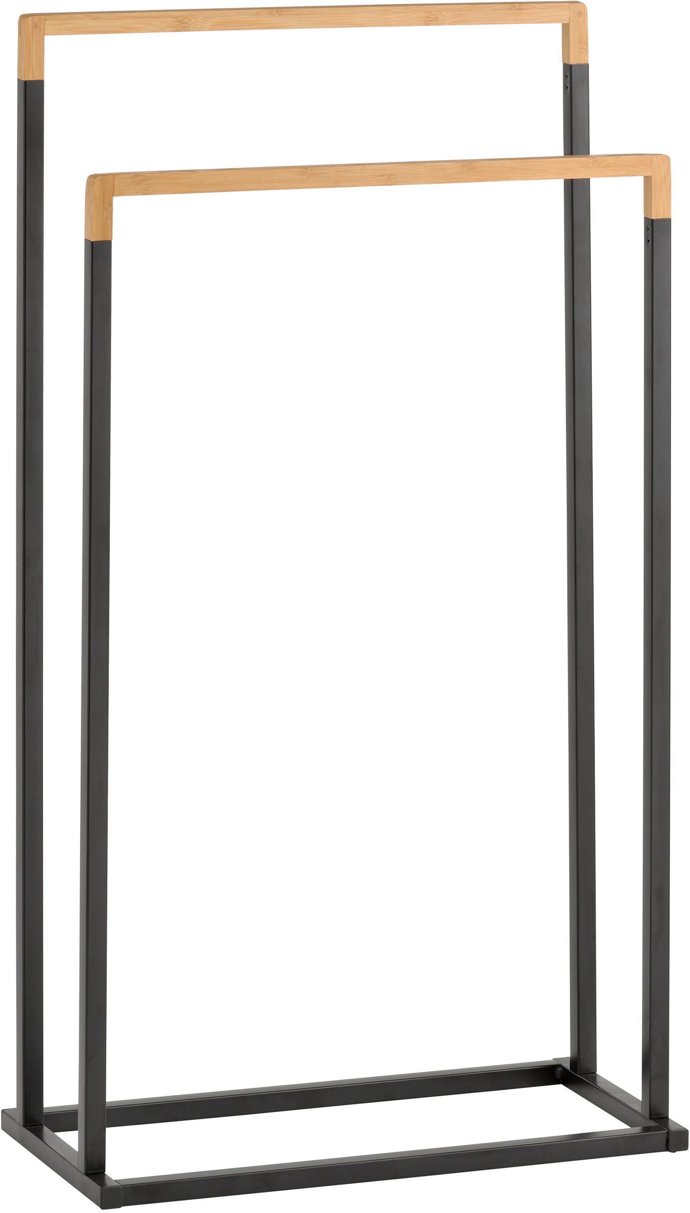 Yoka RINA-BLK - stojak na ręcznik wieszak łazienkowy podwójny czarny