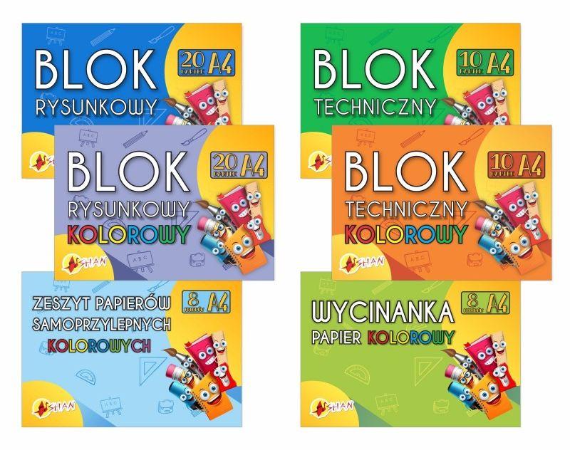 Komplet bloków szkolnych + wycinanka +samoprzylepny A4 Shan 6 szt. 4110102