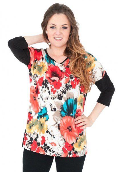 Bluzka, kimono, rękaw 3/4, wzór z przodu, Kreator Studio Mody, rozmiar 50