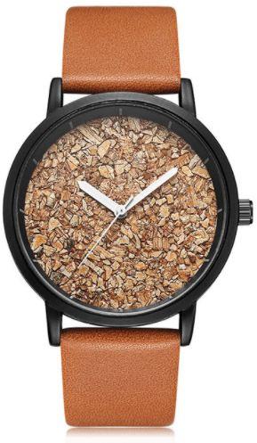 Zegarek GeekThink na brązowym pasku - korkowa tarcza