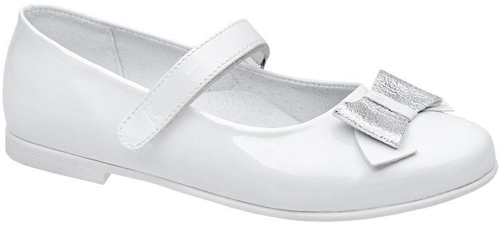 Balerinki buty komunijne KORNECKI 6270 Białe Lakierki - Biały