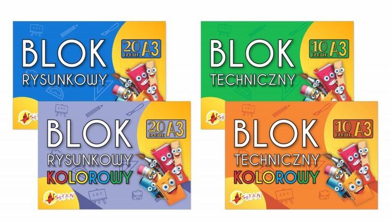 Komplet bloków szkolnych A3 Shan 4 szt. 4110119