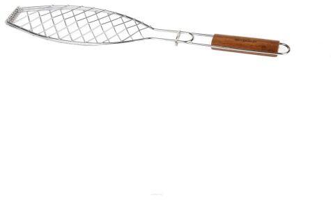 Ruszt stalowy do grillowania ryby z bambusową rączką Grandhall A06603003T