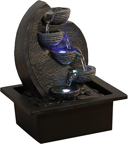Zen Light Cascade V.2 Fontanna Wodospadowa, Żywica, Czarny, 17 x 21 x 26 cm