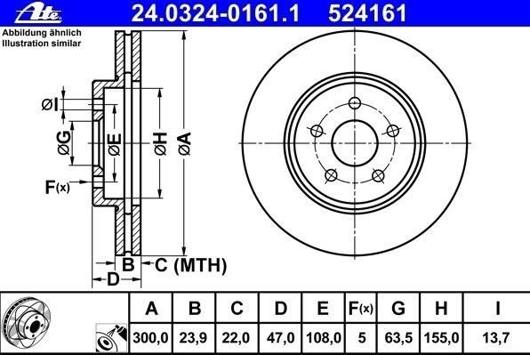 tarcze hamulcowe ATE Power Disc - oś przednia - 300 mm