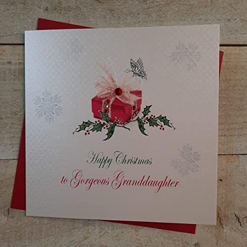 White Cotton Cards X99 ''Happy Christmas'' wspaniała wnuczka ręcznie wykonana kartka bożonarodzeniowa, biała