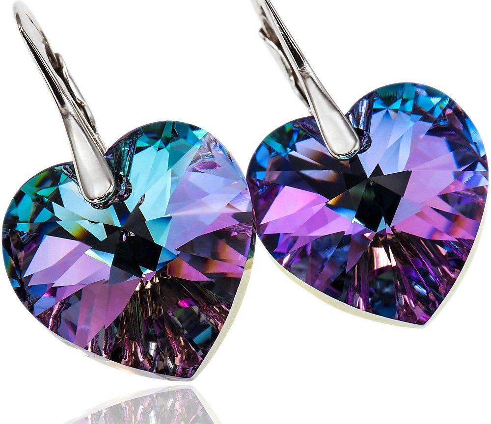 Kryształy piękne kolczyki VITRAIL HEART SREBRO