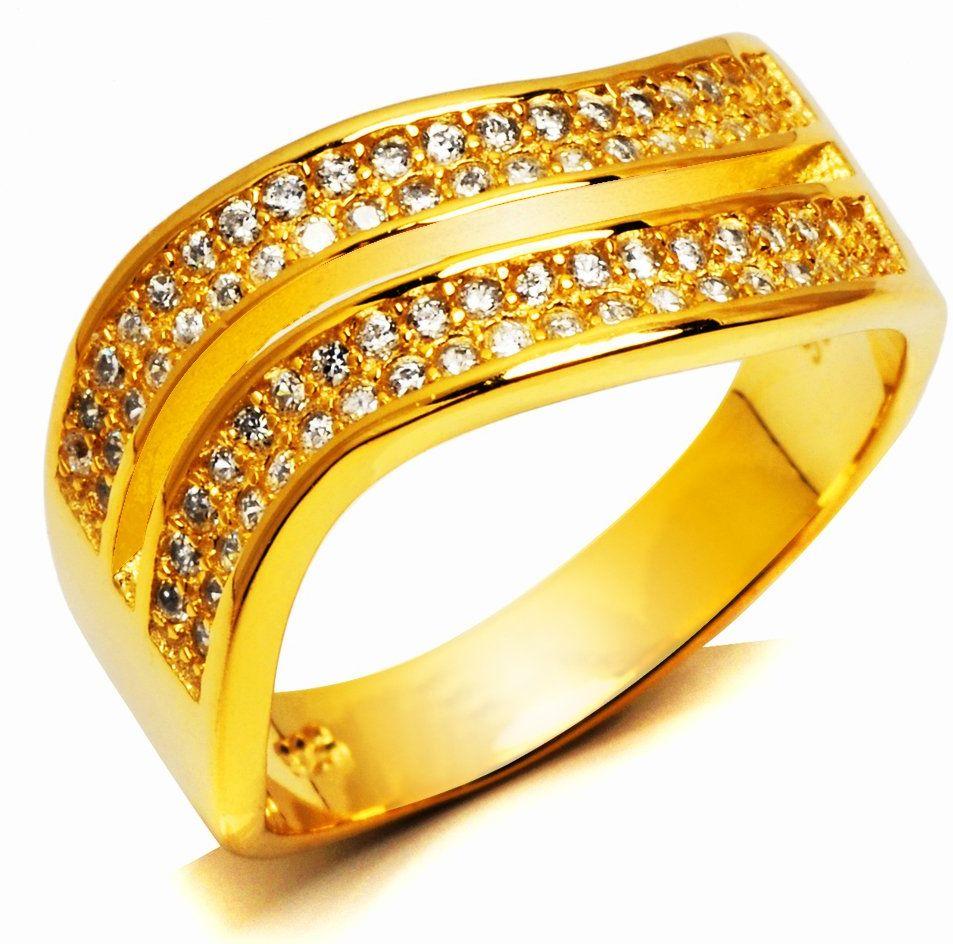Srebrny Pierścionek Pokryty Złotem z Cyrkoniami