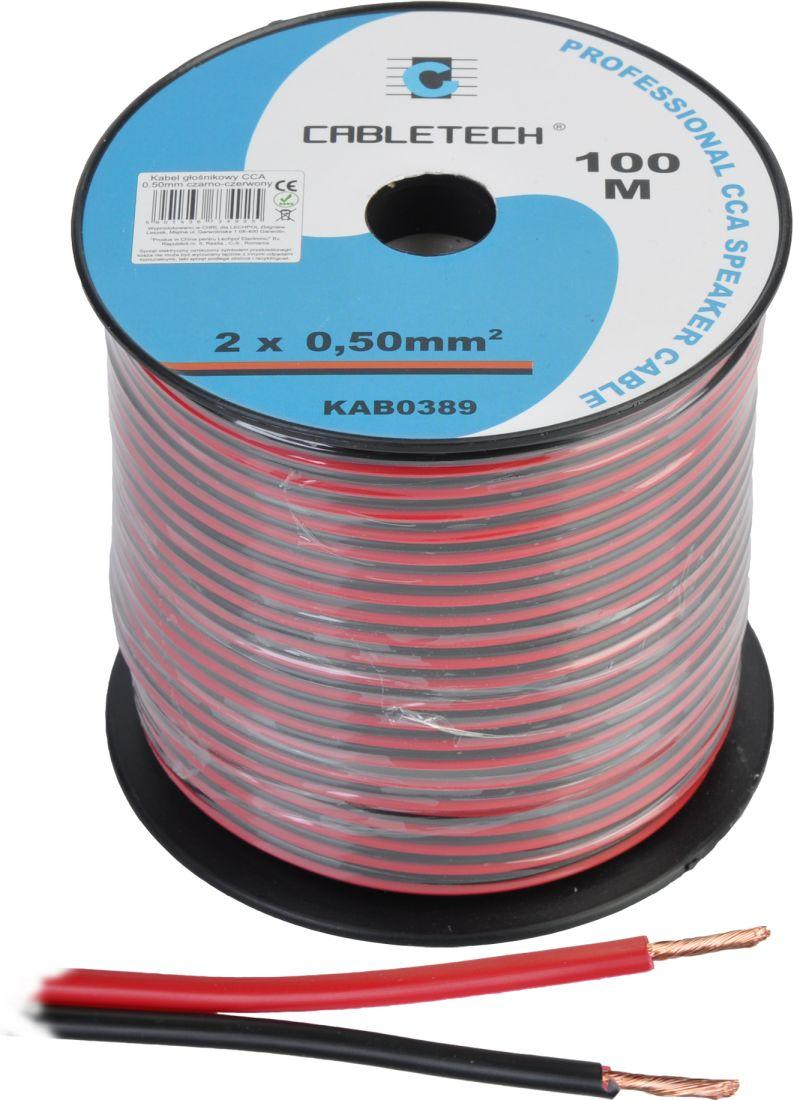 Kabel głośnikowy CCA 0.50mm czarno-czerwony