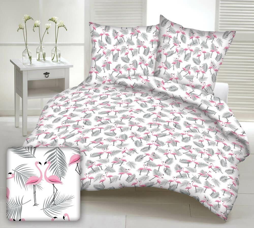Zasłona gotowa na szelki 160x250 biała flamingi różowe liście palmy szare