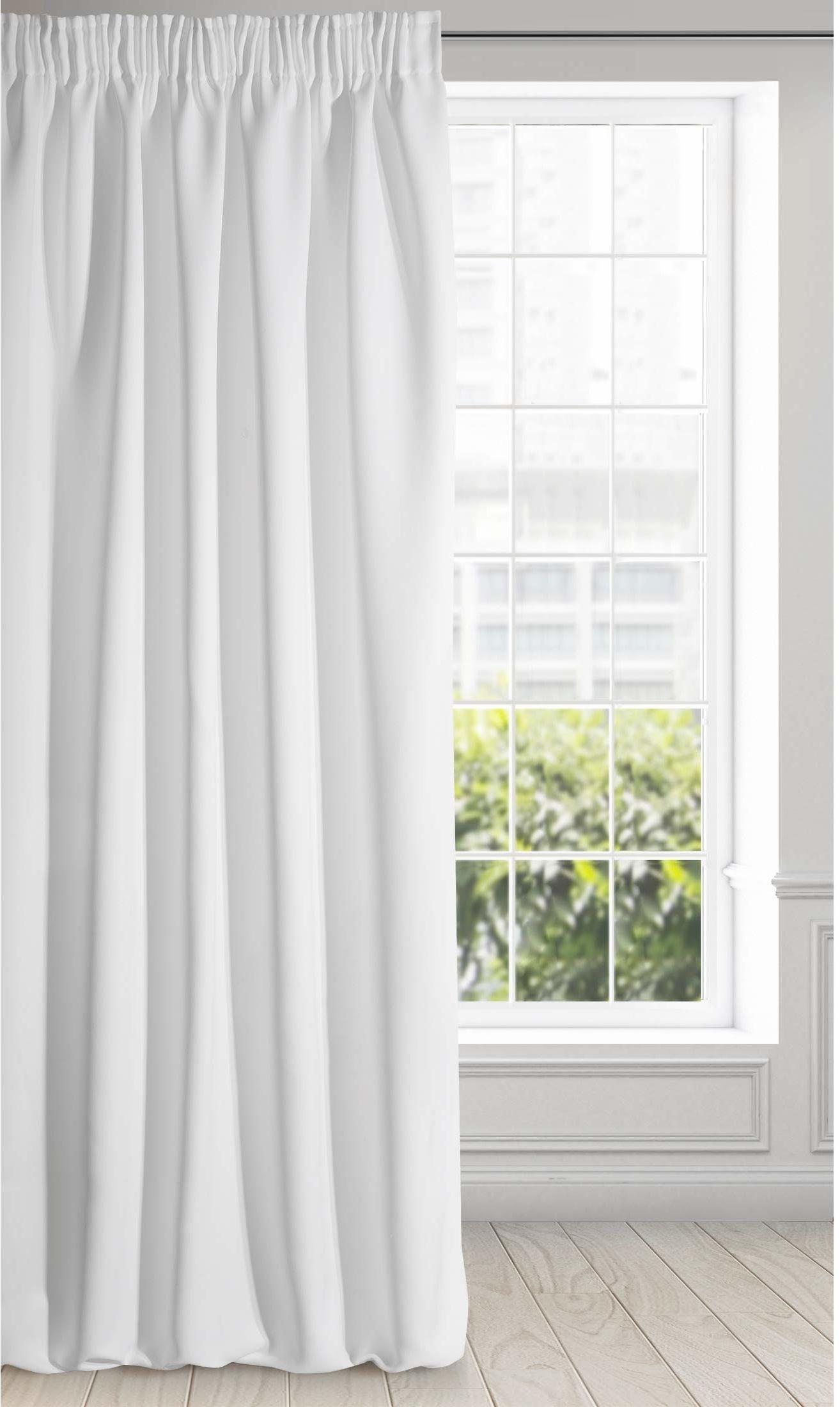 Eurofirany Logan zaciemniająca zasłona nieprzejrzysta, satynowa marszczona taśma marszcząca firanka jednokolorowa 1 szt. nowoczesny salon sypialnia pokój dziecięcy biały, 135 x 270 cm