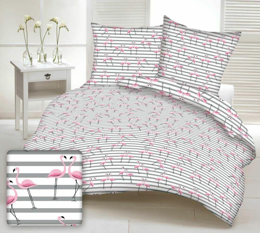 Zasłona gotowa na szelki 160x250 biała flamingi różowe paski szare