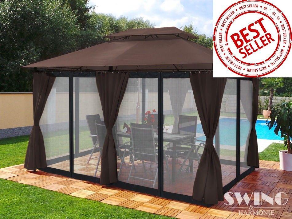 Pawilon ogrodowy brązowy MINZO 3x4m - ścianki + LED + moskitiery
