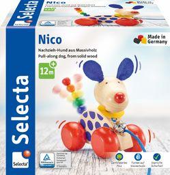 Selecta 62026 Pies Nico, zabawka do ciągnięcia, z drewna, 12 cm
