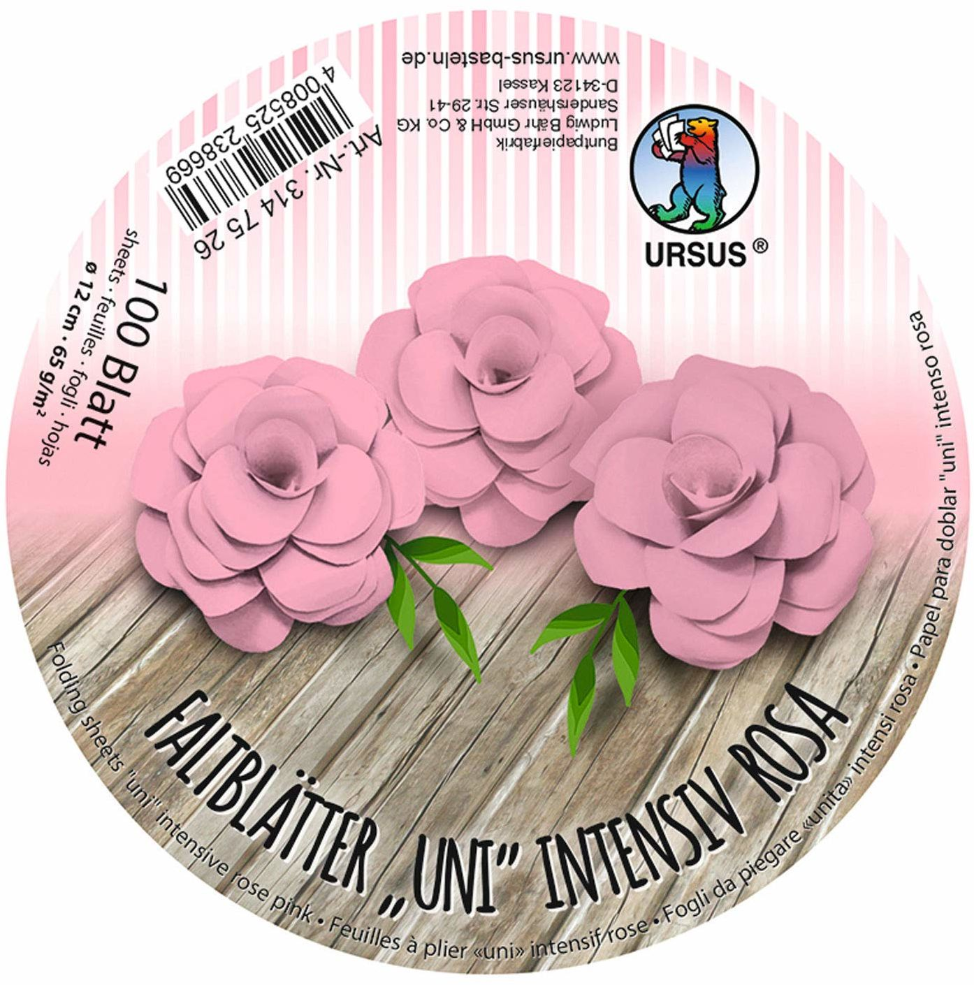 URSUS 3147526 arkusze harmonijkowe, okrągłe, o intensywnym różu, z papieru plakatowego, barwionego na masie, 100 arkuszy 65 g/m , średnica 12 cm, idealne do składania papierowych kwiatów i kwiatów