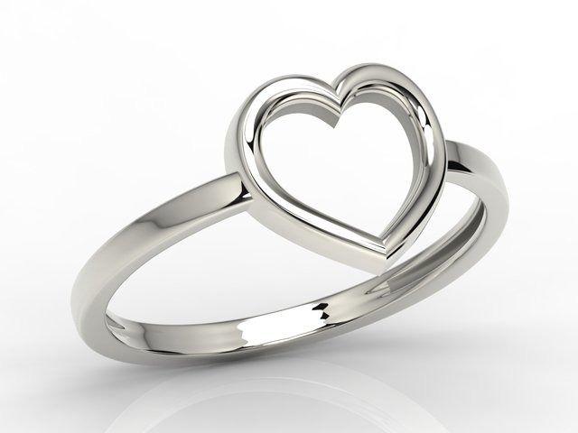 Srebrny pierścionek w kształcie serca ap-s-50