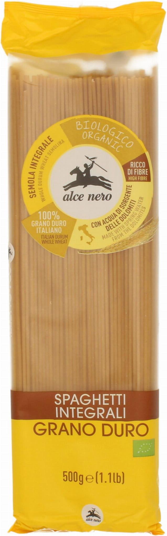 Makaron semolinowy razowy spaghetti bio 500 g - alce nero
