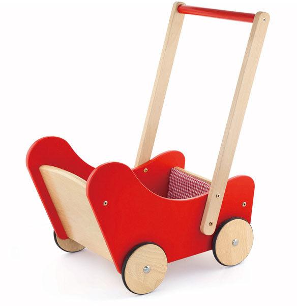 Drewniany Wózek dla lalek Pchacz Chodzik 3w1 Viga Ciche Koła