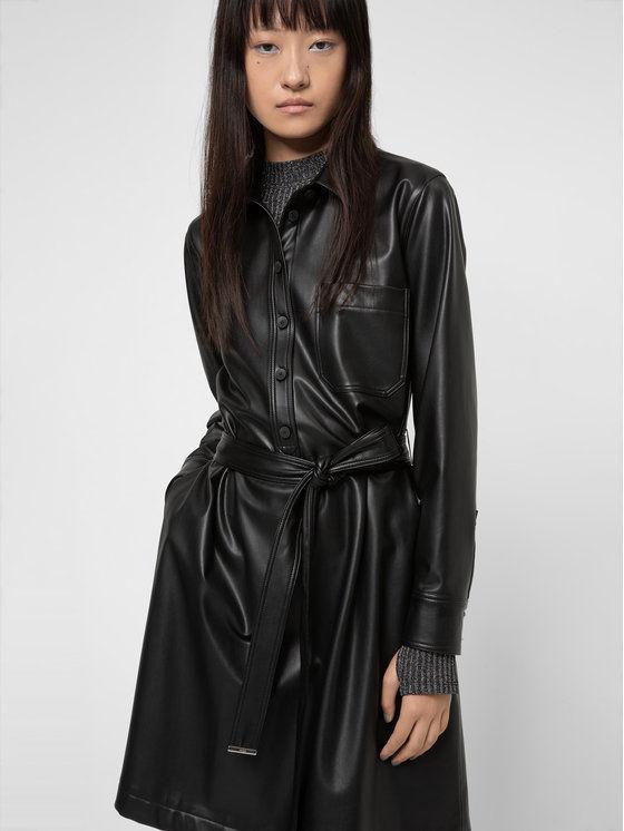 Hugo Sukienka z imitacji skóry Kalana-1 50443348 Czarny Regular Fit
