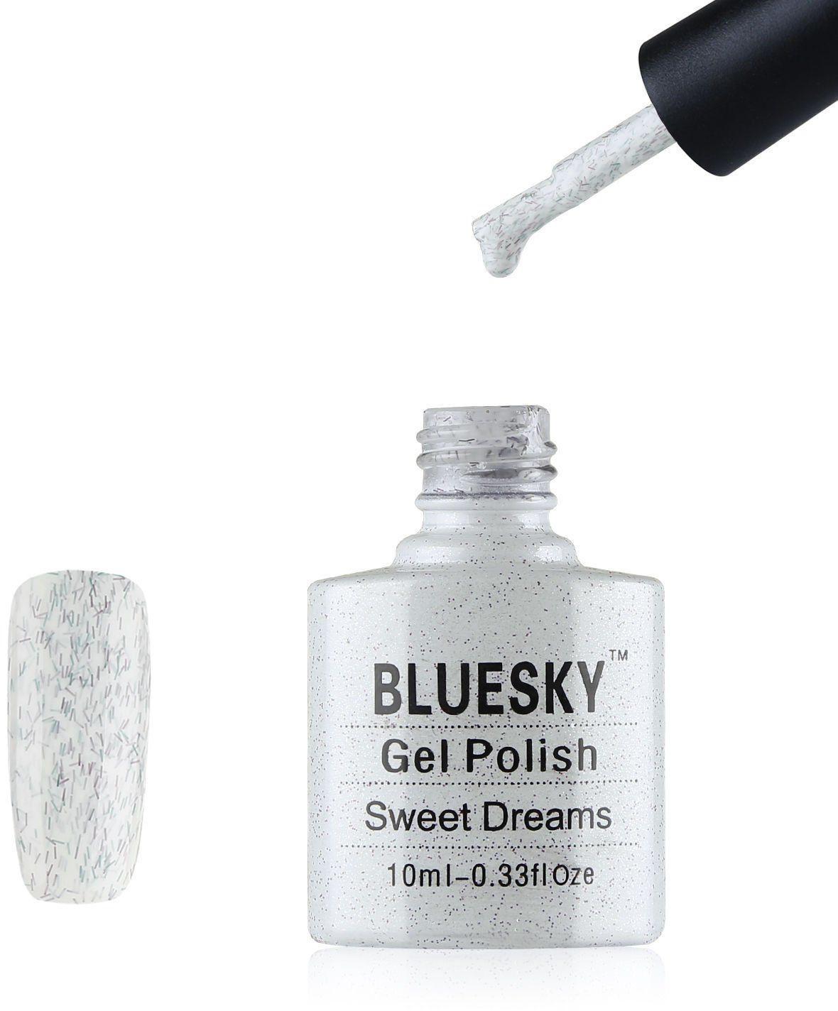 Bluesky Bsh041 żelowy lakier do paznokci, Sweet Dreams biały brokat, długotrwały, odporny na odpryski, 10 ml (wymaga utwardzenia pod lampą UV LED)