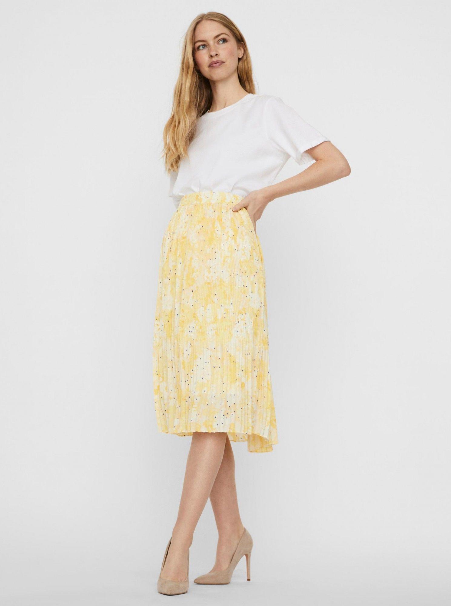 Vero Moda Vero Moda żółty plisowana spódnica Flora