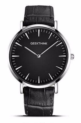 Czarno-srebrny zegarek GeekThink na pasku