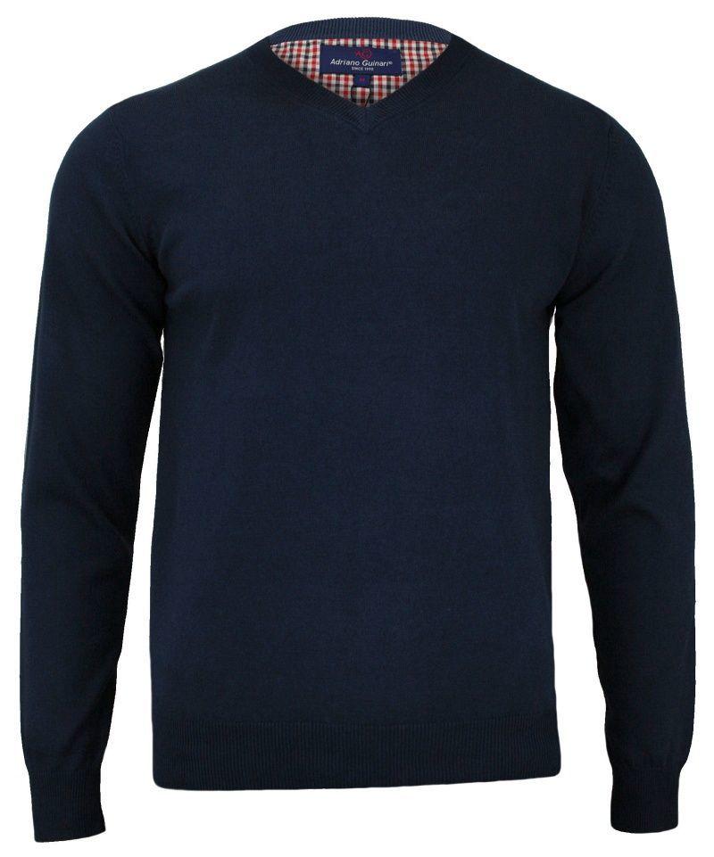 Sweter w Serek (V-neck) Granatowy Męski, 100% Bawełna, Elegancki - Adriano Guinari SWADGAW18peacoatV