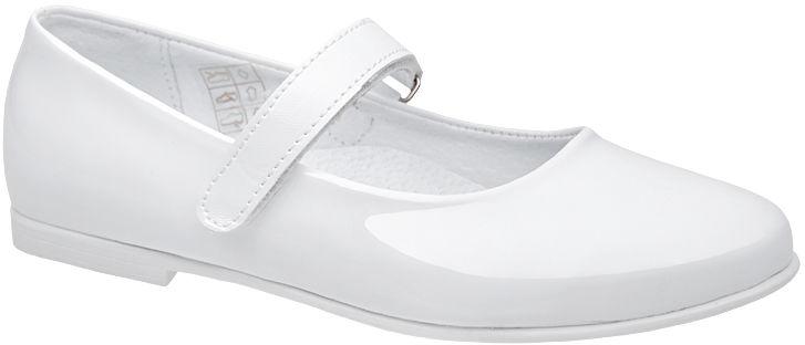 Balerinki buty komunijne KORNECKI 6275 Białe Lakierki - Biały